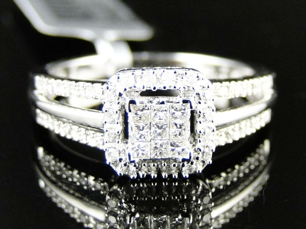 Womens ladies white gold princess cut real diamond for Real wedding ring