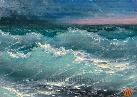 ACEO ORIGINAL OIL PAINTING Fine Art SEASCAPE Pacific Ocean ... Pacific Ocean Waves