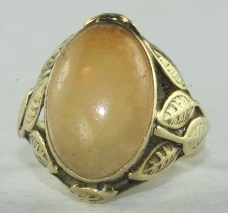 Antique arts crafts 14k gold large jelly opal leaves for Art craft engagement rings