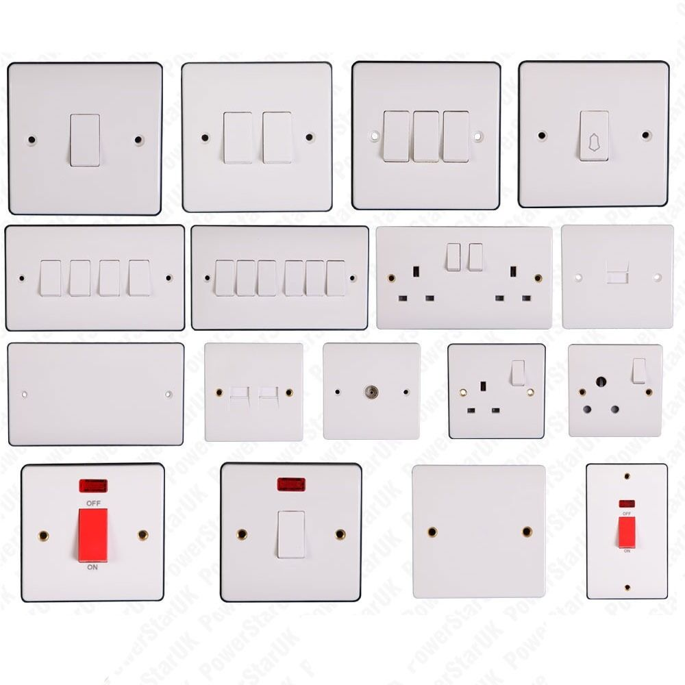 white finish electric light switch socket electrical wall plug 10a 13a switches ebay. Black Bedroom Furniture Sets. Home Design Ideas