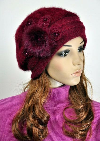 JM39 Rabbit Fur & Wool Women's Winter Hat Beanie Cap Cute ...