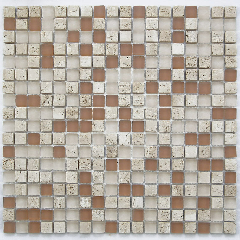 Light Brown Small Glass And Stone Mosaic Tile For Bathroom