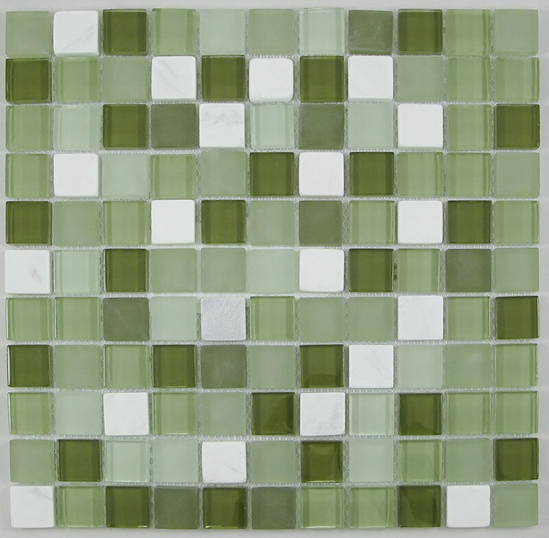 Green Mix Glass And Stone Mosaic Tile For Bathroom Kitchen Backsplash Ebay
