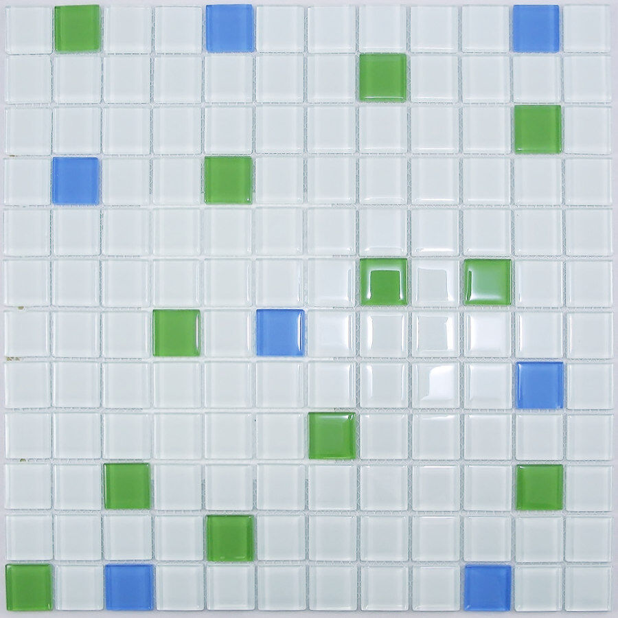 Green Blue Mix Glass Mosaic Tile For Bathroom Kitchen Backsplash