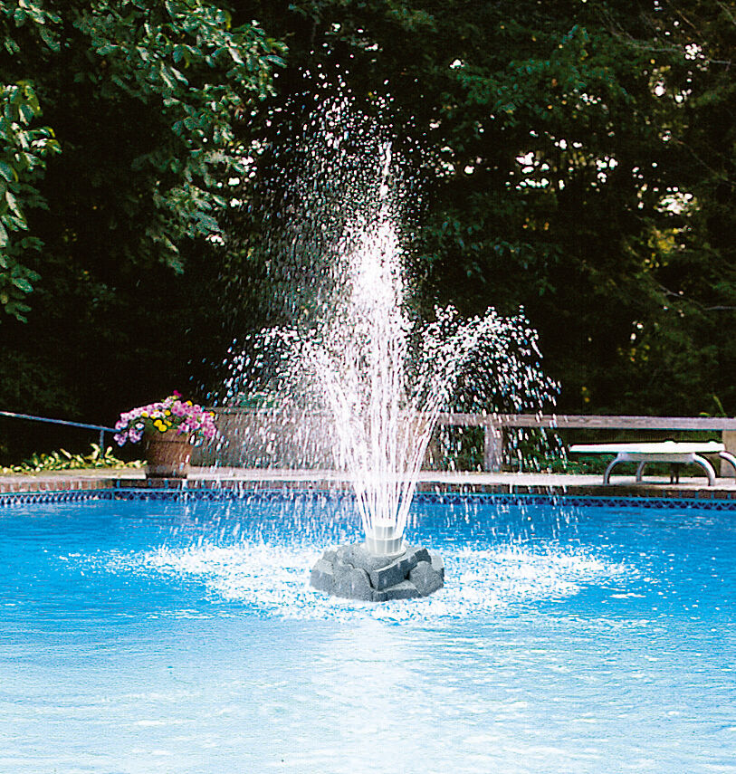 Swimming Pool Fountains : Triple tier rock above ground inground swimming pool