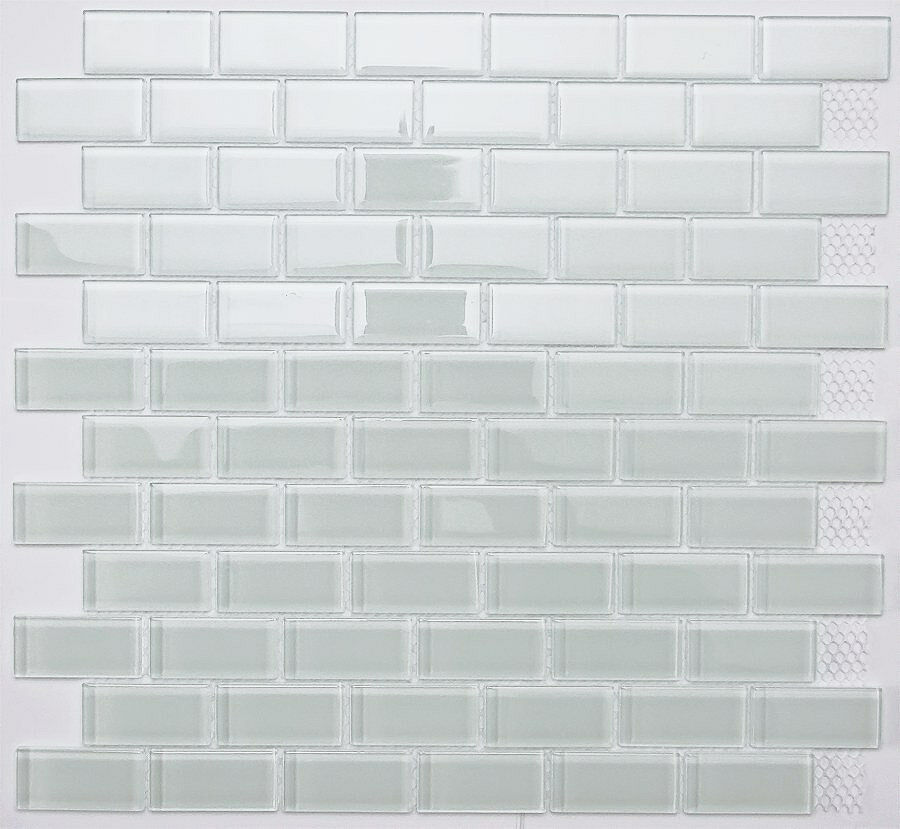 White subway glass mosaic tile for bathroom kitchen backsplash ebay - Bathroom subway tile backsplash ...