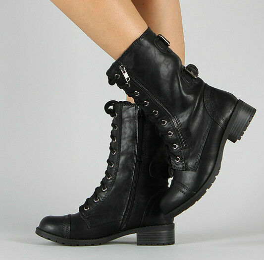 Perfect Womens Faux Leather Knee High Military Combat Boot Buckles Lace Up Riding Black | EBay