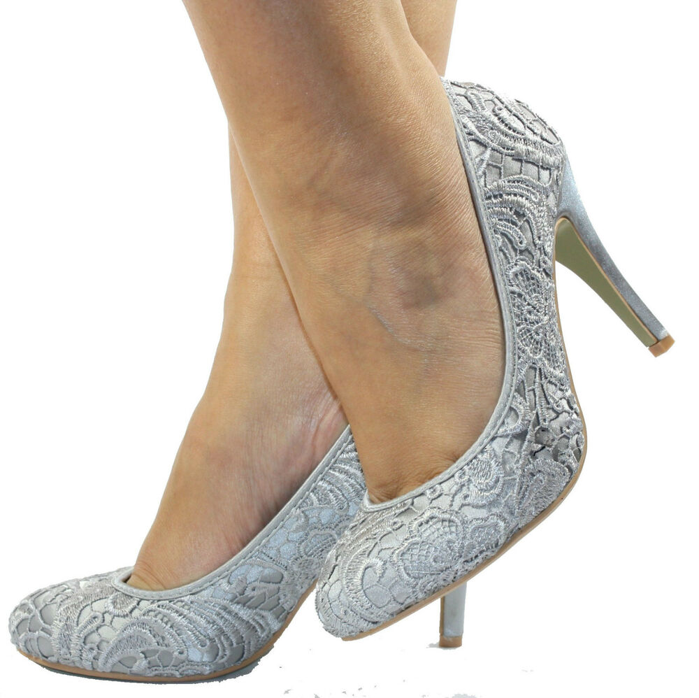 Womens Ladies New Silver Grey Wedding High Heel Court