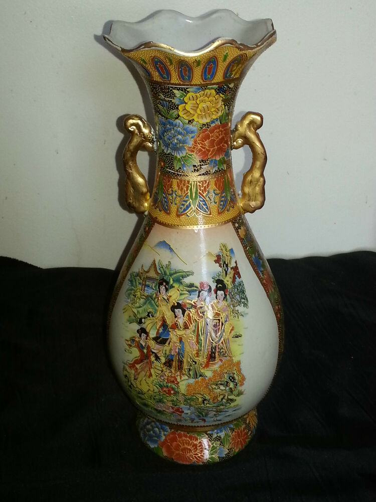 Estate Satsuma Large Chinese Vase Gilded Handles Hand Painted 14 Quot Tall Ebay