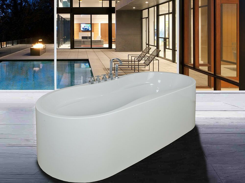 new soaking bathtub acrylic white pedestal bath tub w