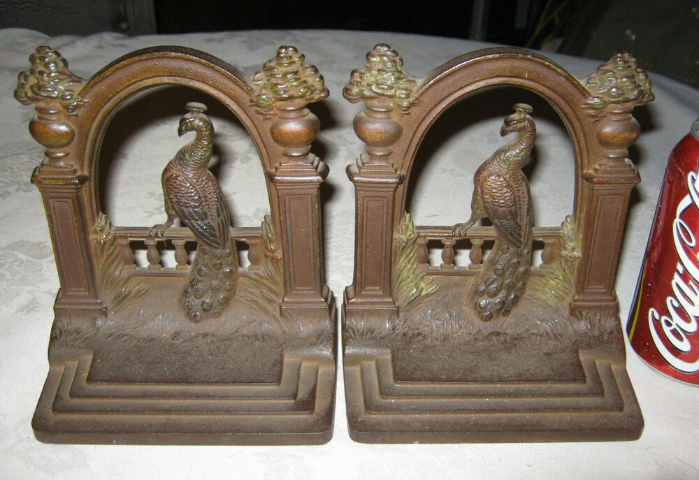 Antique Architectural Bradley Hubbard Peacock Urn Post Fence Cast Iron Bookends Ebay