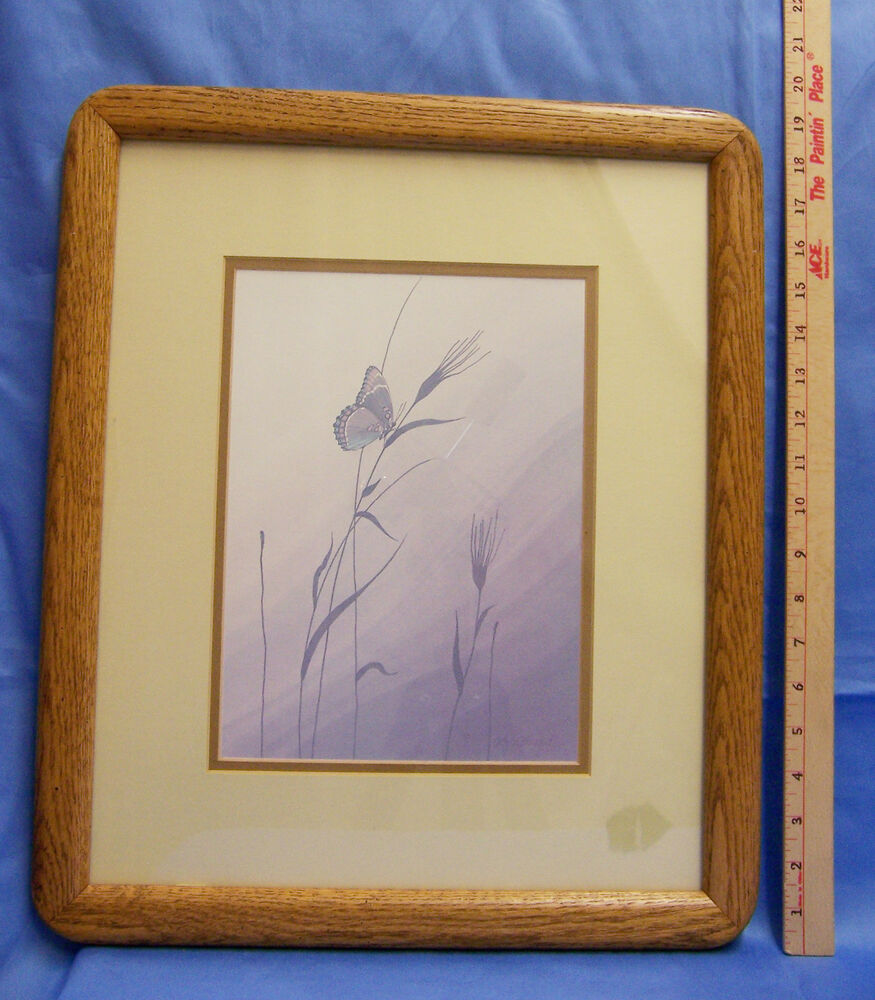 Wood Wall Prints ~ Vintage pair set butterfly wood wooden framed matted