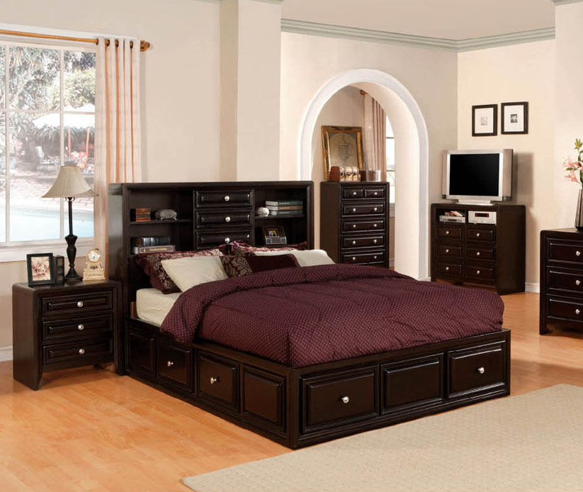 espresso bedroom set 3 contemporary espresso storage platform 11513