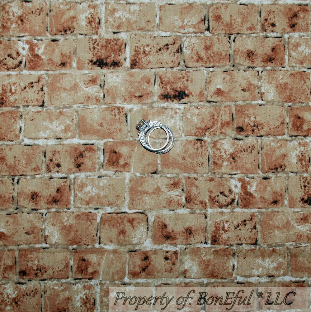 BonEful Fabric FQ Quilt Brown Clay BRICK Wall Real Photography Texture ...