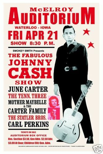 Johnny Cash Poster : 1960 39 s country johnny cash at waterloo iowa concert poster 1967 ebay ~ Buech-reservation.com Haus und Dekorationen