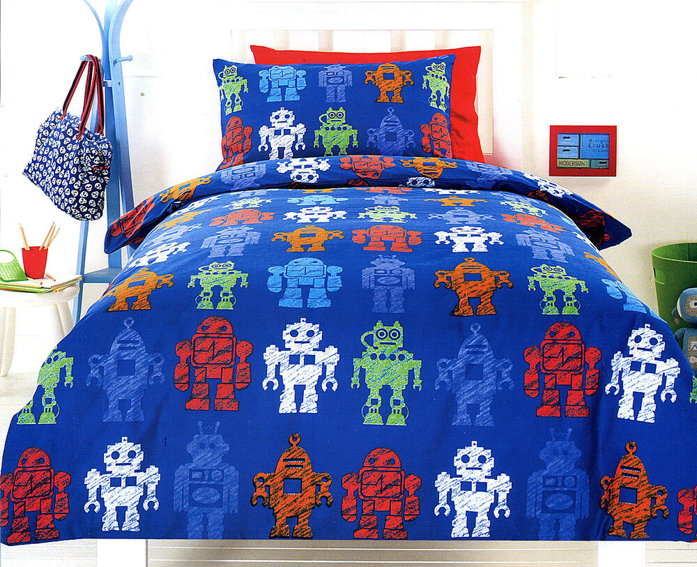 2 Pce Robotic Blue Boys Children Quilt Doona Cover Set