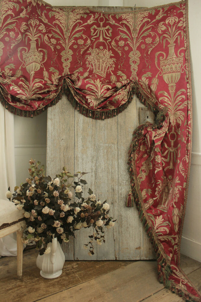 Antique French Damask Lambrequin Valance Textile Silk