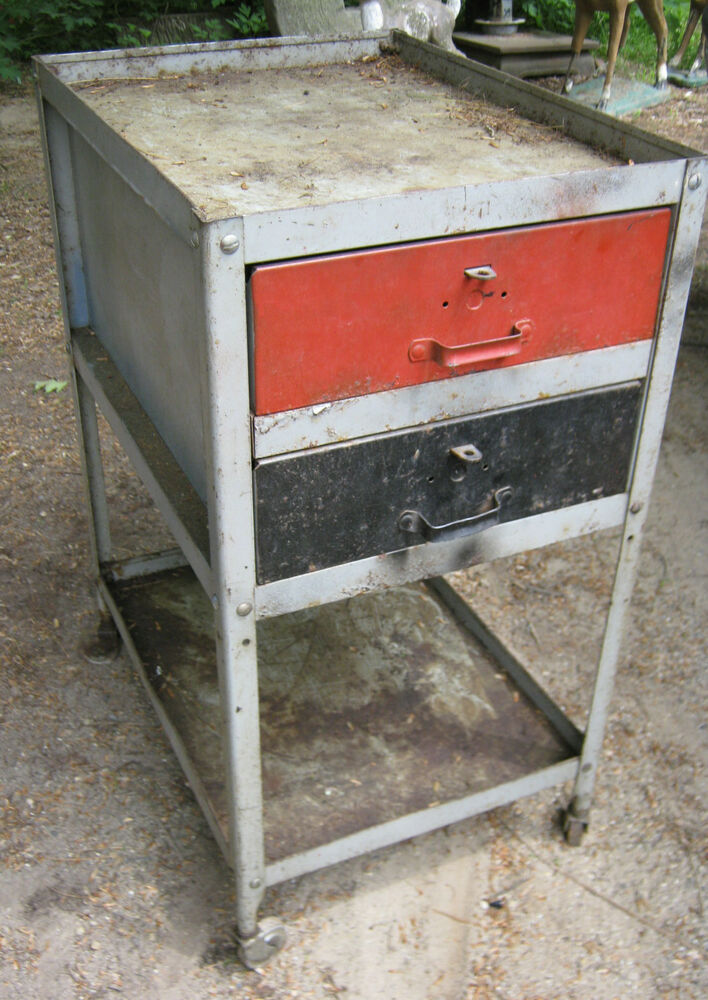 Antique Industrial Factory Steel Castor Draw Tool Chest Cart Table Stand Holder Ebay