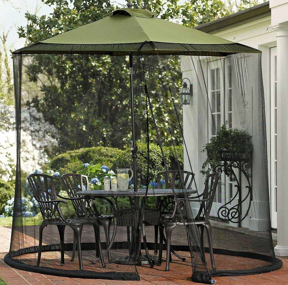 Patio Umbrella Covers With Zipper: Zippered Outdoor Bug Screen Around Patio Table & Umbrella