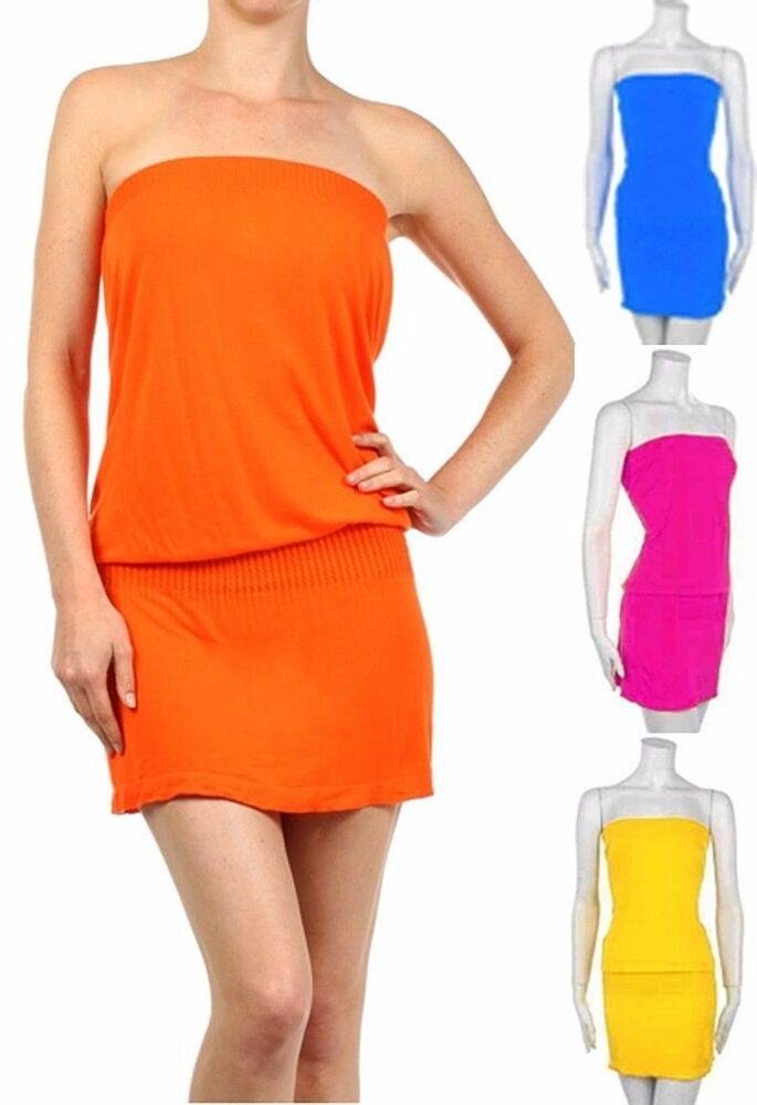 Summer Mini Skirt Strapless Tube Dress Fashion Central | eBay