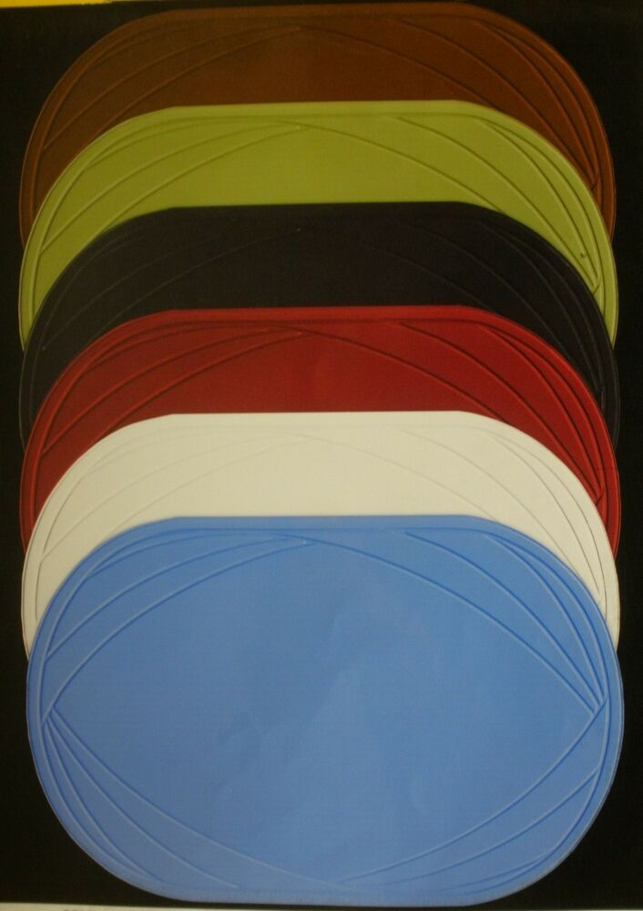 Set Of 6 New Vinyl Placemats Oval Solid Color Easy Wipe