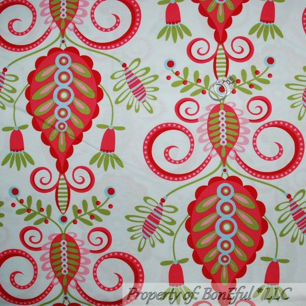 BonEful Fabric FQ Cotton Quilt White Pink Green Whimsy Damask Flower ...