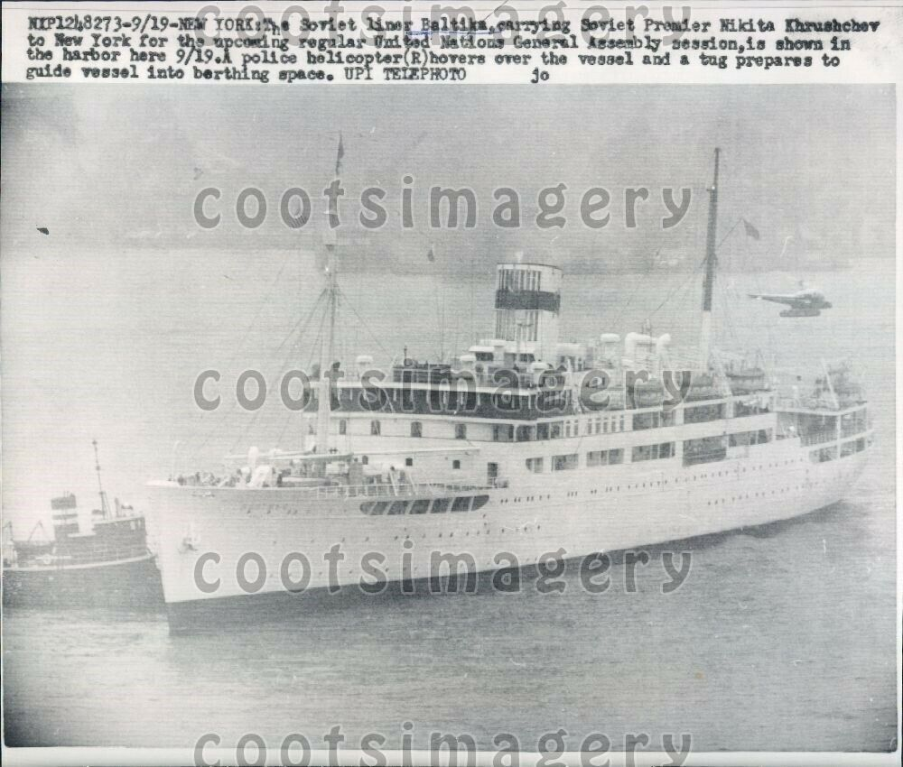 1960 russian passenger ship ss baltika n nyc press photo ebay. Black Bedroom Furniture Sets. Home Design Ideas