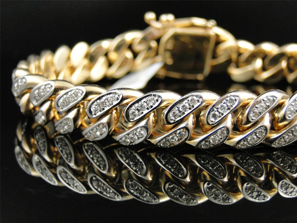 Mens Solid Yellow Gold Miami Cuban Genuine 12 MM Diamond ...
