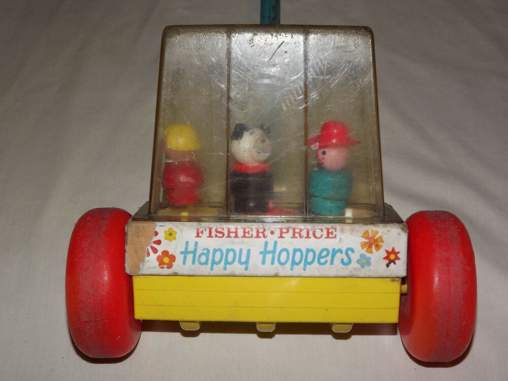 vintage carnival 1969 fisher price toys happy hoppers push toy ebay. Black Bedroom Furniture Sets. Home Design Ideas