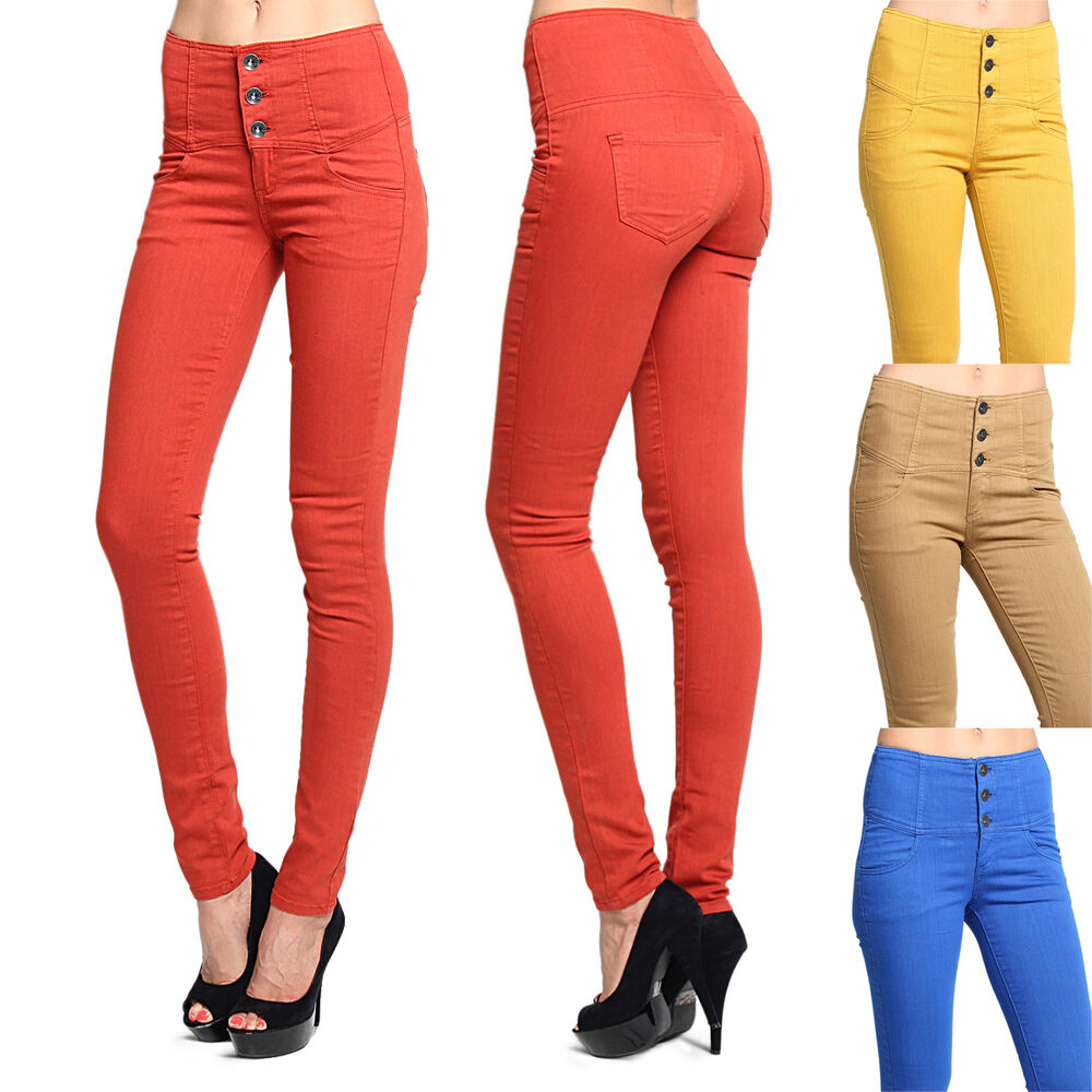 MOGAN 3 Button HIGH WAISTED SKINNY JEANS Colored Washed ...