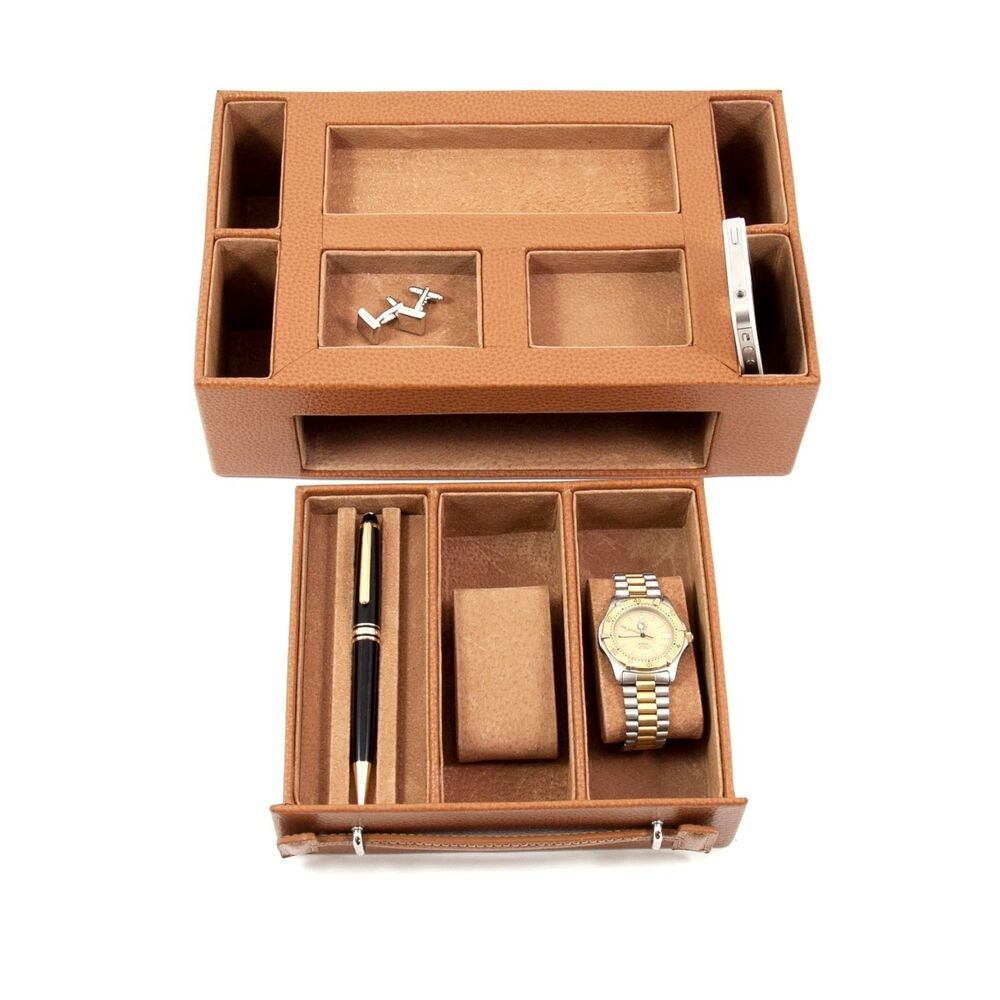 mens gifts tan leather valet box with watch eyeglass