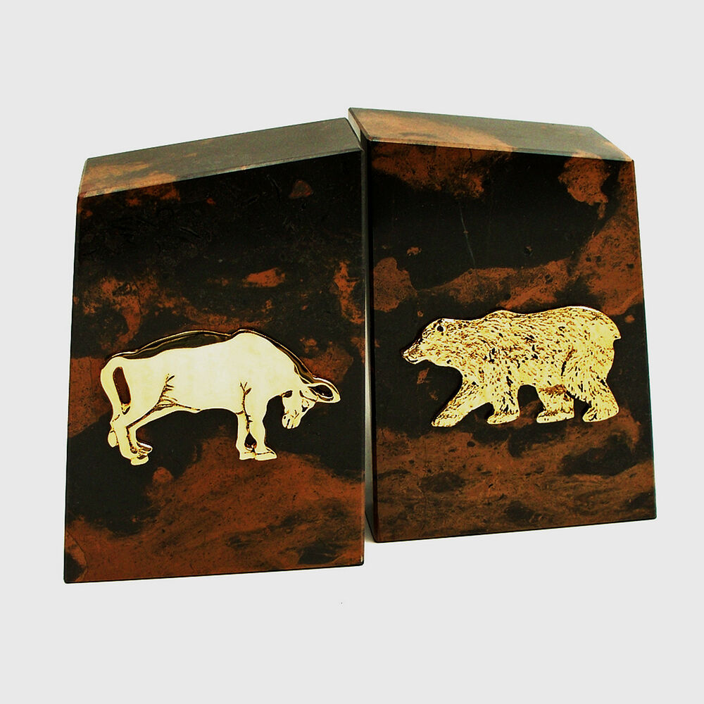 Bookends Wall Street Tiger Eye Marble Bookends Bull And Bear Bookends Ebay
