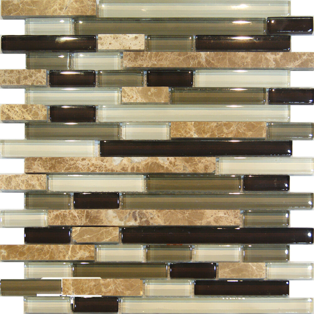 Sample Marble Green Brown Glass Linear Mosaic Tile Backsplash Kitchen Spa Sink Ebay