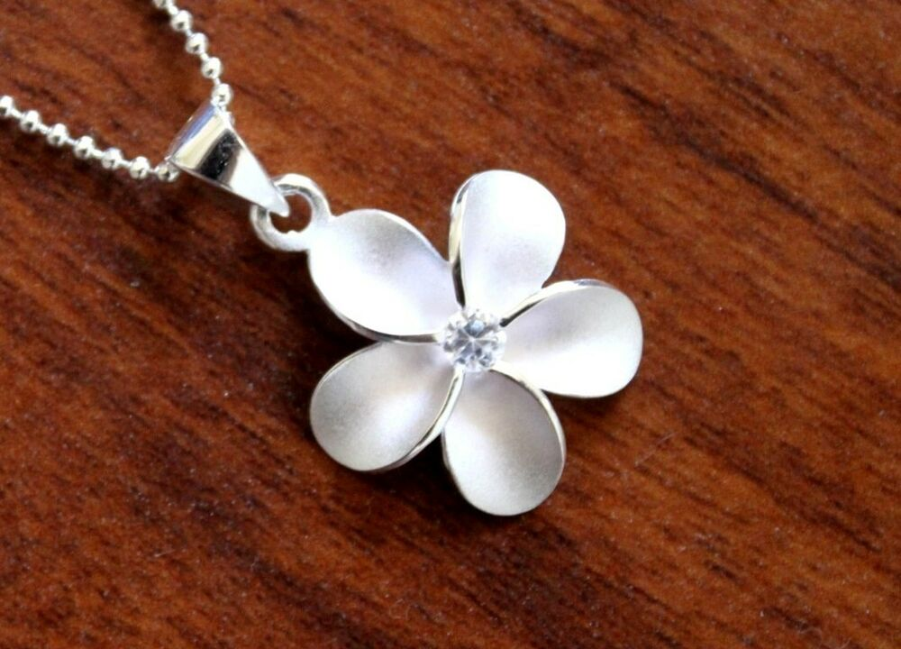 hawaiian jewelry 925 sterling silver plumeria clear cz
