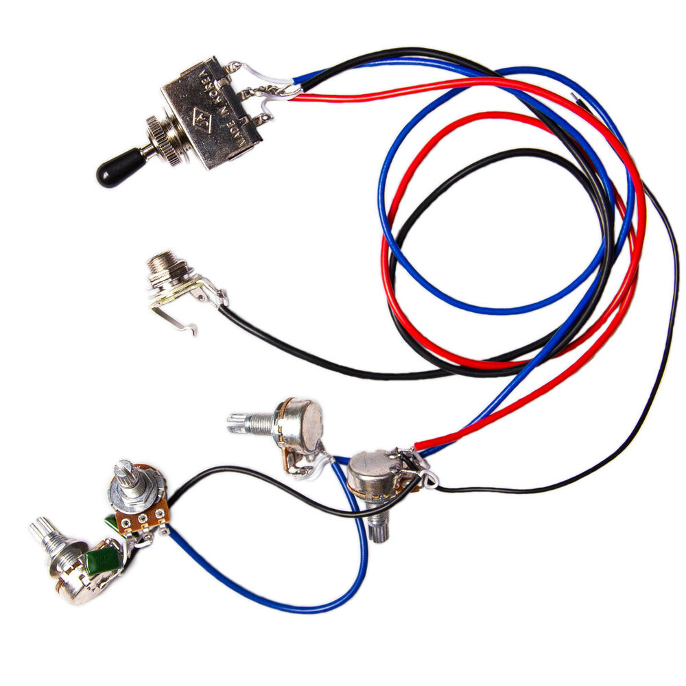 guitar wiring harness kit 2v2t 3 way switch for gibson les paul lp replacement ebay. Black Bedroom Furniture Sets. Home Design Ideas