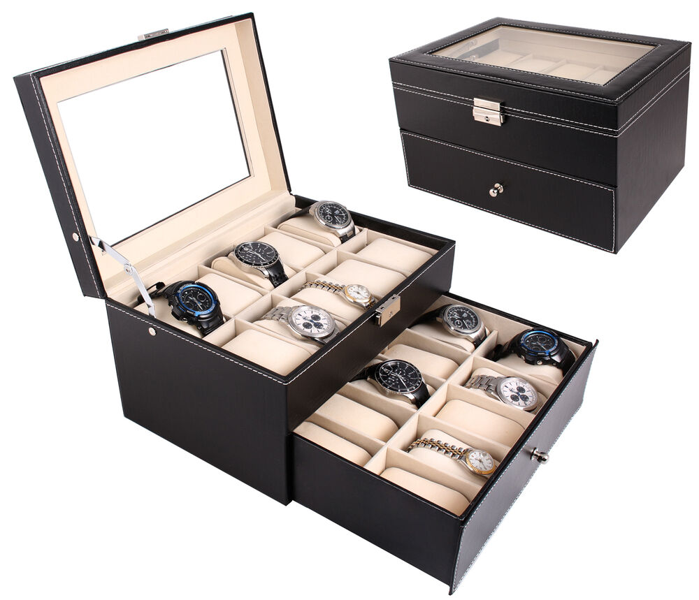 Black leather 20 watch box large glass top display jewelry case organizer ebay for Watches box