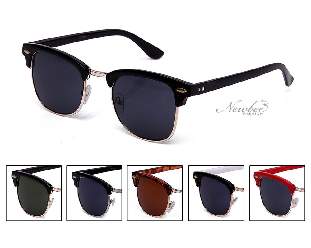 d8762e61bf Details about Half Frame Style Sunglasses Vintage Retro Many Color Styles  Frame
