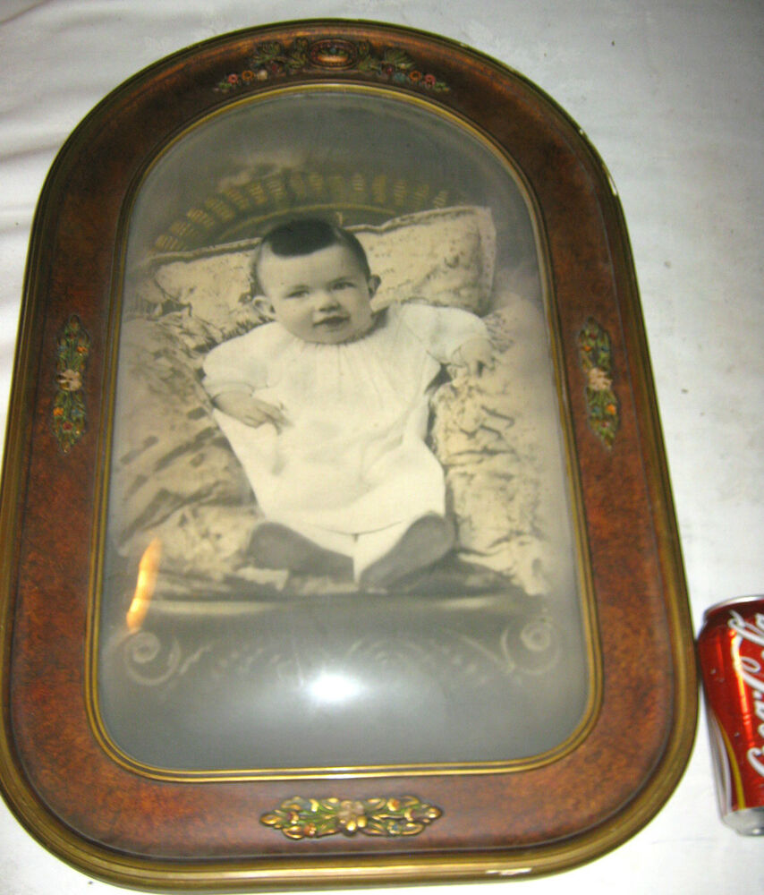 ANTIQUE CONVEX BUBBLE ART GLASS BABY PHOTO FLOWER PICTURE