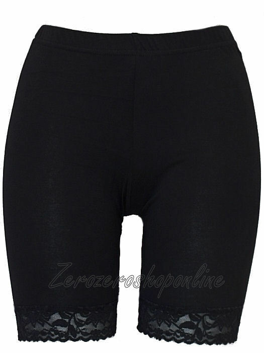 black cycling shorts with lace trim
