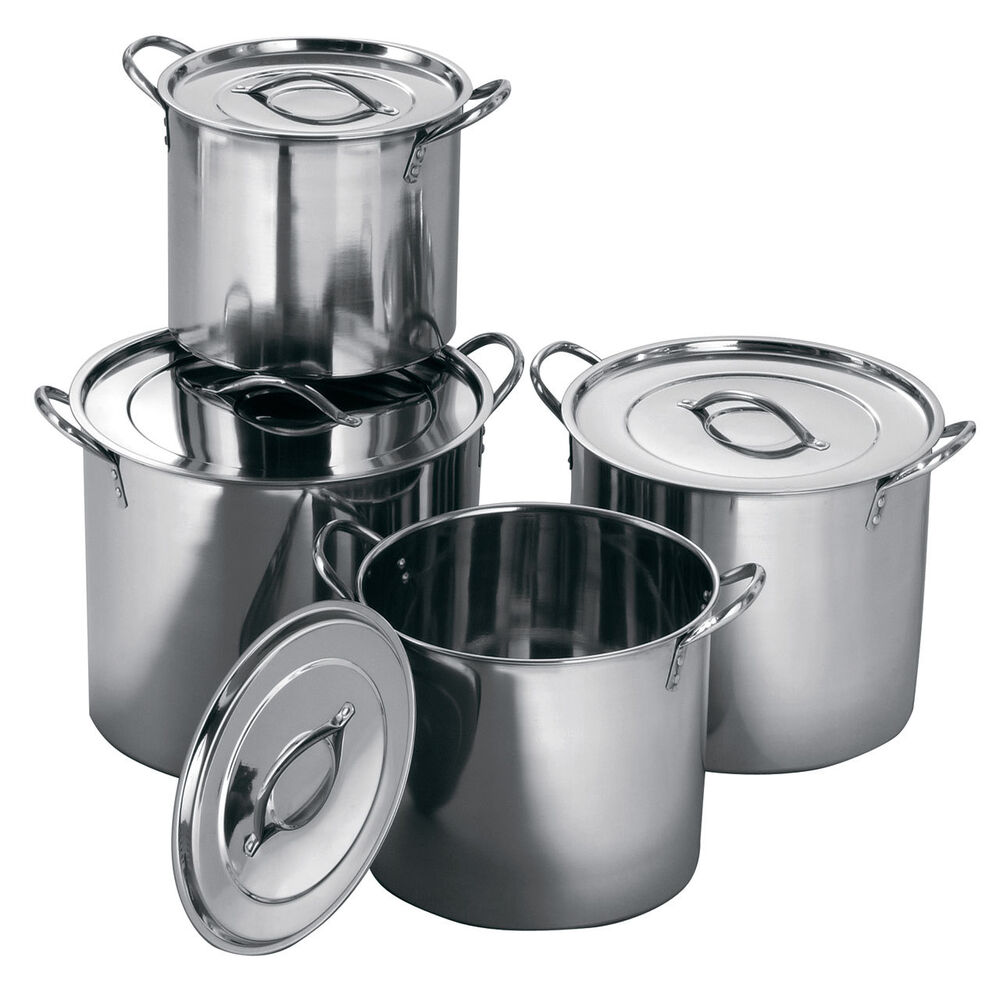 deep stainless steel casserole catering cooking stockpot saucepans soup stew pot ebay. Black Bedroom Furniture Sets. Home Design Ideas
