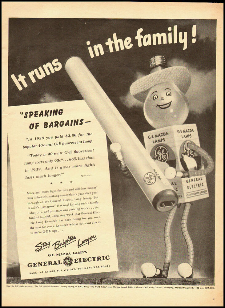 1945 Vintage ad for General Electric Fluorescent Lamps ...