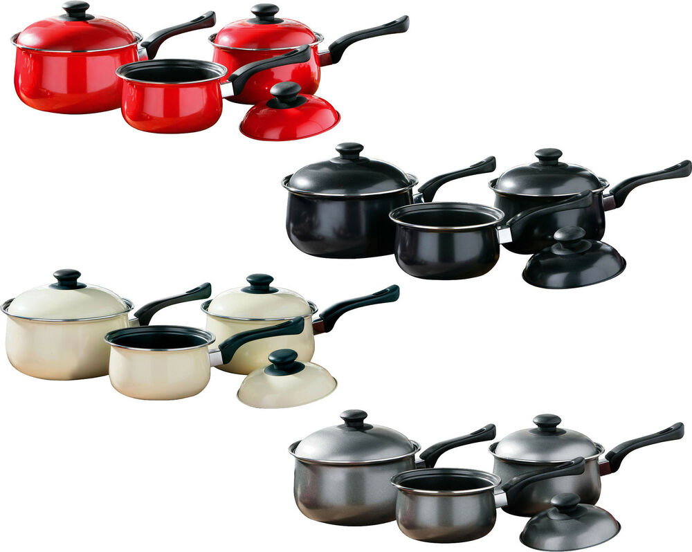 3 piece non stick carbon steel kitchen cookware cooking for Kitchen cooking sets
