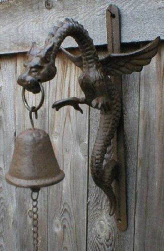 Dragon bell wall mount rustic cast iron ebay - Watch over the garden wall online free ...