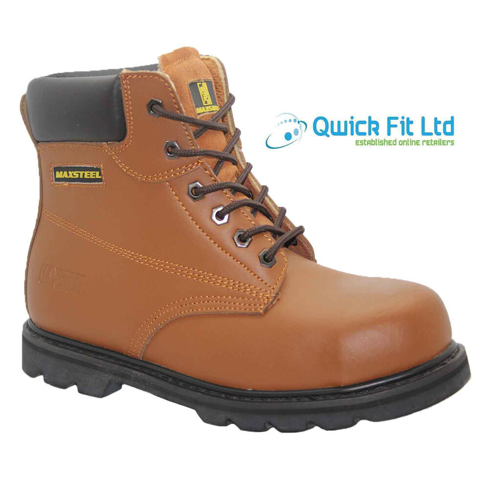 NEW MENS MAXSTEEL LEATHER SAFETY BOOTS STEEL TOE CAP ANKLE WORK ...