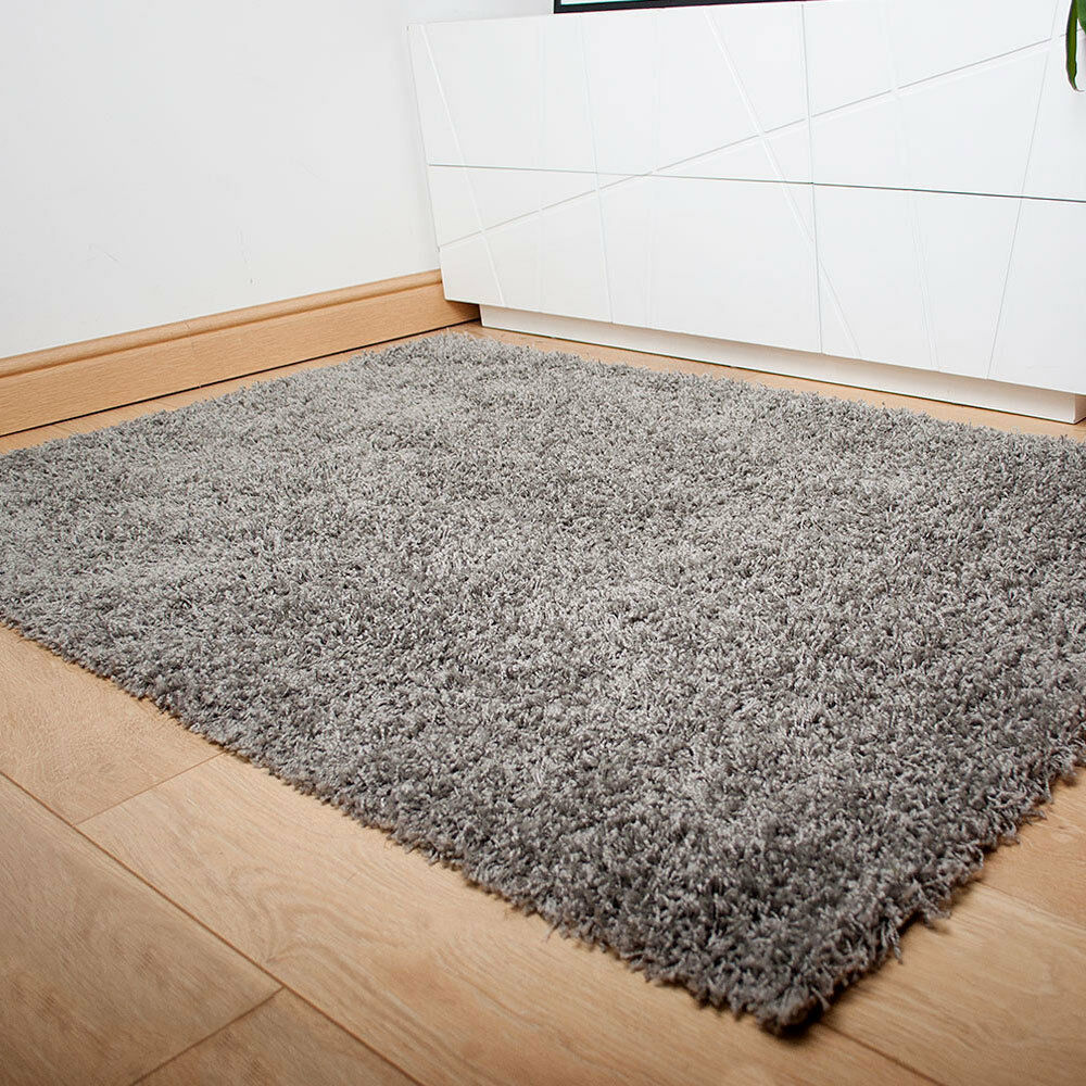 Silver grey thick shaggy rug thick pile soft touch for Cheap good quality rugs