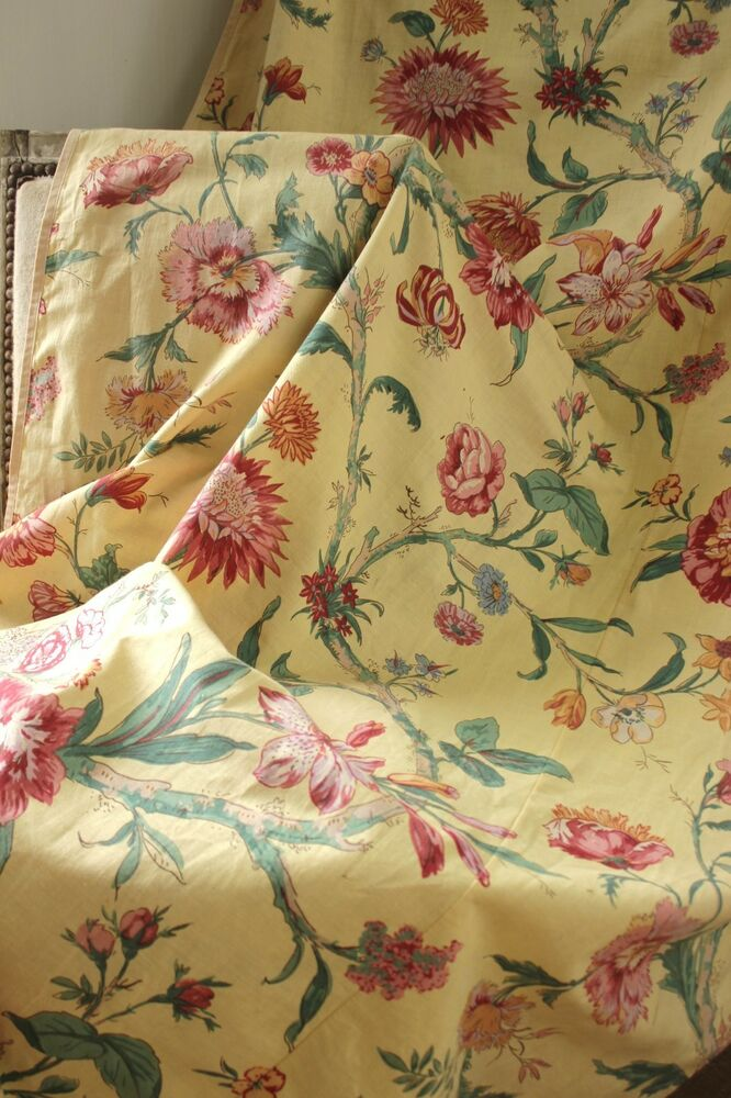 Vintage French Floral Yellow Ground Fabric Curtain Drape