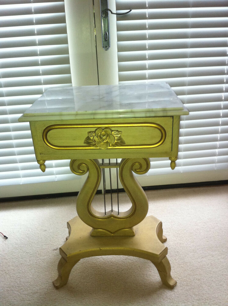 Lyre Harp Victorian Style Hand Carved Marble Top Table