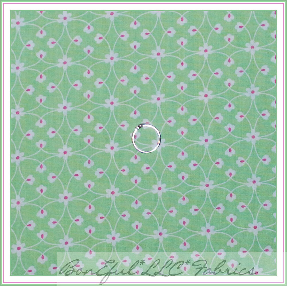 Boneful fabric fq cotton quilt green white pink sm flower for Baby girl fabric