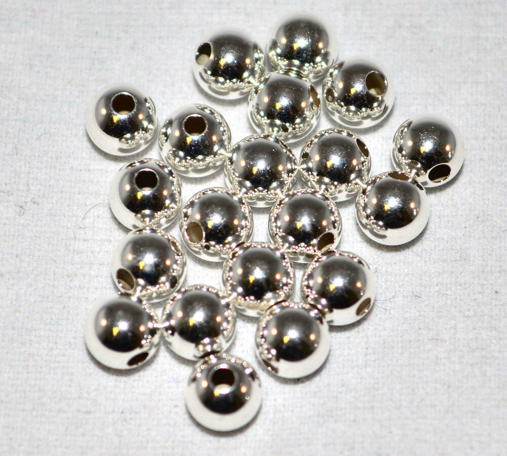 Silver Beads: .925 Sterling Silver 4mm Round Smooth Beads Spacer Jewelry
