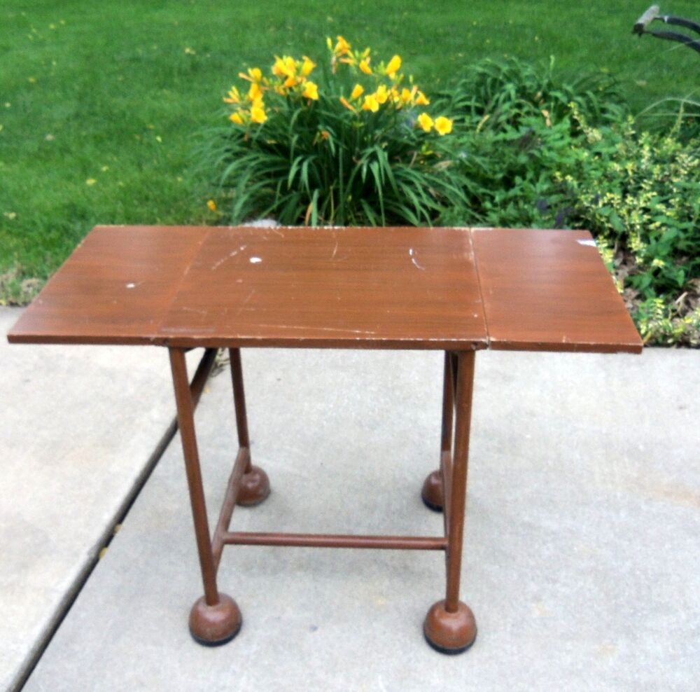 Vintage Industrial Typewriter Table With Drop Leaf Side